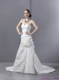 2015 New Ruffled Sweetheart Ruched White Wedding Dresses with Brush Train