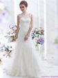 2015 New White Laced Wedding Dresses with Brush Train