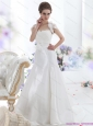 2015 New White Sweetheart Brush Train Wedding Dresses with Hand Made Flower and Ruffles