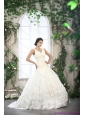 2015 New and Beautiful White Straps Ruffled Bridal Dresses with Brush Train