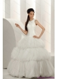 2015 New and Perfect White Wedding Dresses with Ruffled Layers and Sequins