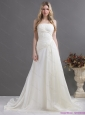 2015 New and Popular White Strapless Ruching Bridal Gowns with Brush Train
