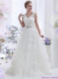 2015 New and Unique Brush Train White Wedding Dresses with Lace and Beading