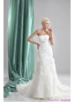 2015 New Pleated Sequined White Wedding Dresses with Chapel Train