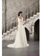 2015 New Ruching and Beading White Wedding Dresses with Brush Train