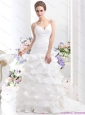 2015 New Ruching White Wedding Dresses with Ruffled Layers and Brush Train