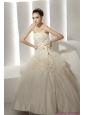 2015 New Ruffled White Wedding Dresses with Rolling Flowers