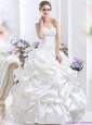 2015 New White Brush Train Bridal Dresses with Pick Ups and Sequins