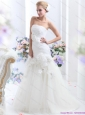 2015 New White BrushTrain Strapless Bridal Gowns with Ruching and Hand Made Flowers