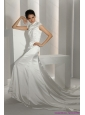 2015 New White High Neck Wedding Dresses with Cathedral Train and Beading