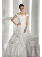 2015 New White Off Shoulder Bridal Dresses with Cathedral Train and Hand Made Flowers