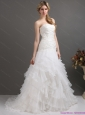 2015 New White Strapless Pleated Wedding Dresses with Ruffled Layers
