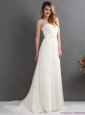 2015 New White Strapless Wedding Dresses with Brush Train and Sash