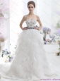 2015 New White Sweetheart Brush Train Wedding Dresses with Rhinestones and Sash