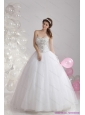 2015 New White Sweetheart Rhinestones Bridal Gowns with Brush Train
