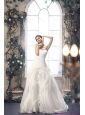 2015 New White Sweetheart Ruching Wedding Dresses with Brush Train