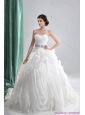 2015 New White Sweetheart Ruching Wedding Dresses with Brush Train and Beading