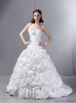 2015 New White Sweetheart Wedding Dresses with Hand Made flowers and Brush Train