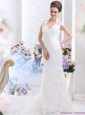 Popular White V Neck Lace 2015 Bridal Gown with Brush Train