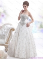 Pretty Strapless Lace White Wedding Dresses with Rhinestones