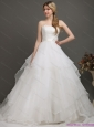 The Most Popular and New White Wedding Dresses with Brush Train and Sash in 2015