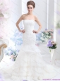 2015 and New Wonderful Strapless Wedding Dress with Brush Train