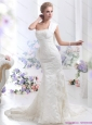 2015 Beautiful White Mermaid Wedding Dress with Court Train and Lace