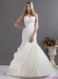 2015 New A Line Wedding Dress with Ruching and Lace for 2015