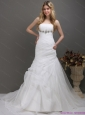 2015 New and Fashionable Strapless Wedding Dress with Ruching and Paillette