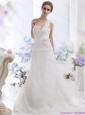 2015 New and Wonderful A Line Wedding Dress with Lace and Hand Made Flowers