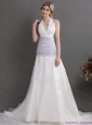 2015 New Halter Top Wedding Dress with Lace and Ruching