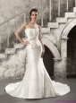 2015 New Mermaid Strapless Wedding Dress with Ruching and Beading