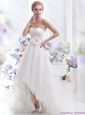 2015 New Sweetheart High Low Wedding Dress with Lace and Hand Made Flowers