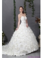 2015 New Sweetheart Wedding Dress with Beading and Hand Made Flowers