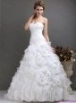 New 2015 Perfect Sweetheart Wedding Dresses with Ruching and Rolling Flowers