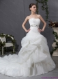 New 2015 Strapless Wedding Dress with Beading and Ruching