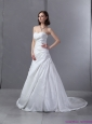 Plus Size 2015 Sweetheart Appliques and Ruching Wedding Dress
