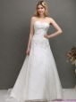 Plus Size 2015 Sweetheart A Line Wedding Dress with Appliques and Beading