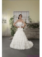 2015 Strapless White Beach Wedding Dresses with Ruffled Layers and Court Train