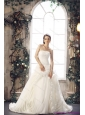 White Strapless Beach Wedding Dresses with Chapel Train and Beading