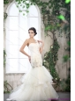 2015 Luxurious One Shoulder Beach Wedding Dress with Beading and Ruching