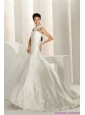 Popular Beading White Beach Wedding Dresses with Brush Train and Lace