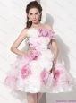 Short Multi Color Strapless Wedding Dresses with Hand Made Flower