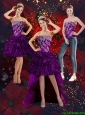 2015 Detachable Beautiful Purple Strapless Prom Dresses with Embroidery and Ruffles