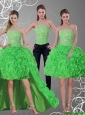 2015  Detachable New Style Spring Green Strapless Prom Dresses with Beading and Ruffles