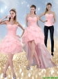 2015 Detachable New Style Sweetheart Baby Pink Prom Dress with Ruffled Layers and Beading