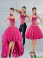 Detachable Perfect Sweetheart Hot Pink 2015 Prom Dresses with Appliques