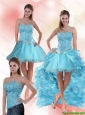 Unique Aqua Blue Sweetheart High Low Prom Dresses with Ruffles and Beading