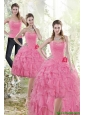 Detachable Fashionable 2015 Rose Pink Prom Dress with Beading and Ruffles