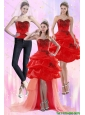 Detachable Luxurious Red Strapless 2015 Prom Dress with Appliques and Pick Ups